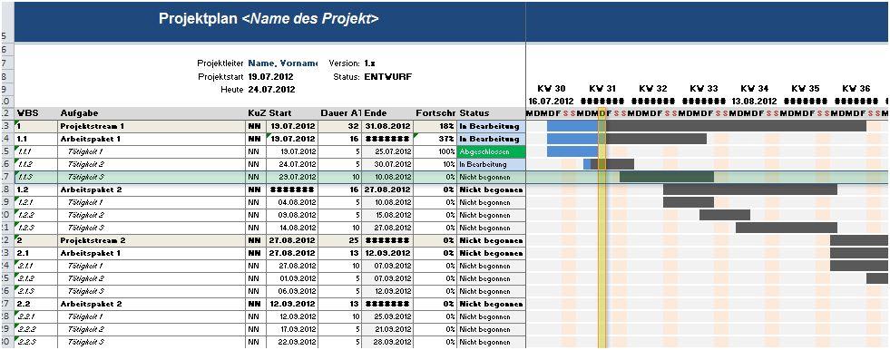 Kostenlose Vorlage für einen Projektplan in Excel | Kulturmanagement ...